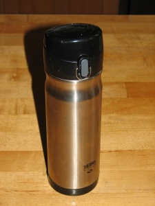 Stainless double-walled, vacuum insulated Thermos hot drink container