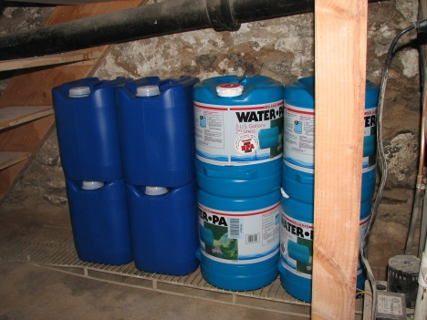8 of my 12 5-gallon Water Containers in Storage
